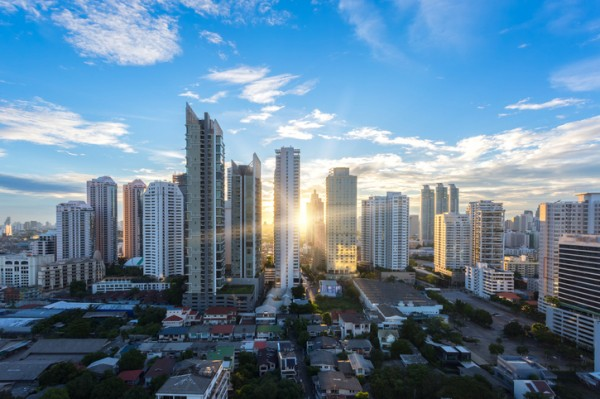 Bangkok cityscape , Aerial view of Bangkok modern office buildings, condominium in Bangkok city downtown with sunset sky , Bangkok , Thailand