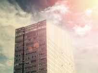 46436408 - office building on sky background.